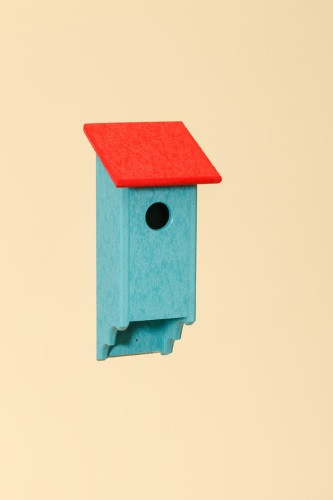 Poly Wood Bluebird House - Teal Base/Red Roof