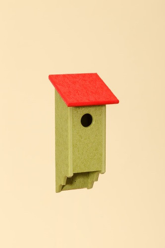 Poly Wood Bluebird House - Lime Base/Red Roof