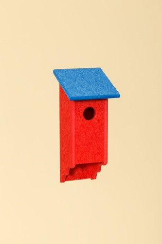 Poly Wood Bluebird House - Red Base/Blue Roof