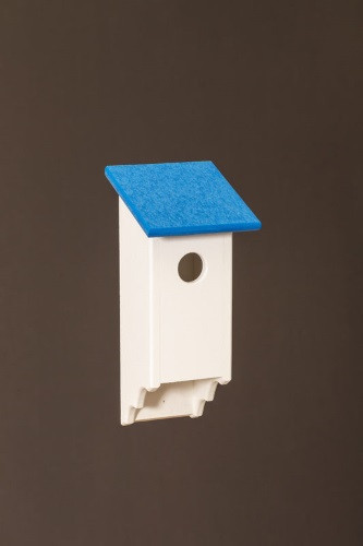 Poly Wood Bluebird House - White Base/Blue Roof