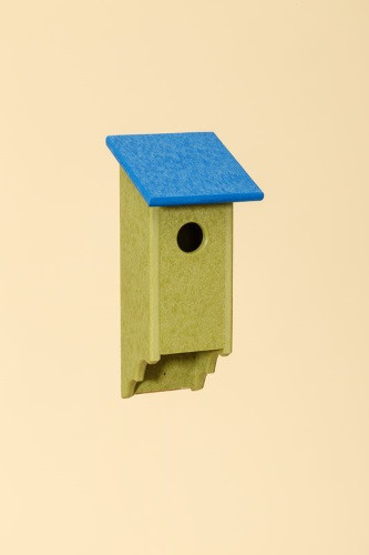 Poly Wood Bluebird House - Lime Base/Blue Roof