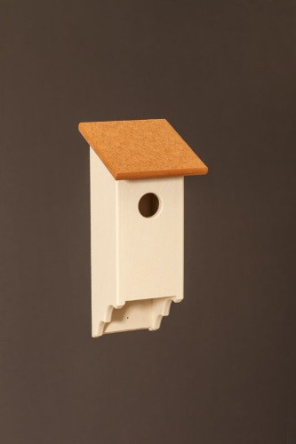 Poly Wood Bluebird House - Ivory Base/Cedar Roof
