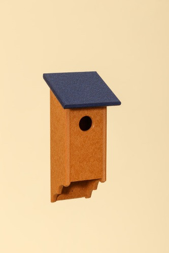 Poly Wood Bluebird House - Cedar Base/Navy Roof