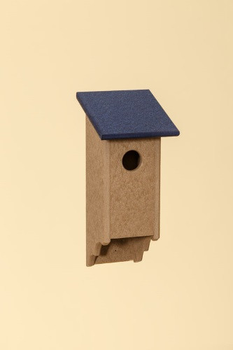 Poly Wood Bluebird House - Weatherwood Base/Navy Roof