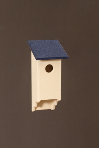Poly Wood Bluebird House - Ivory Base/Navy Roof