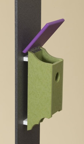 Poly Wood Bluebird House- Lime Base/Purple Roof