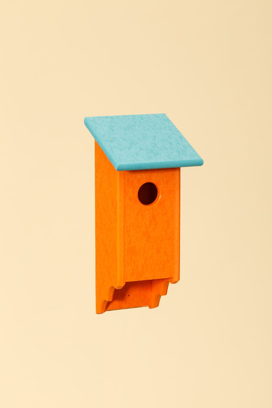 Poly Wood Bluebird House - Orange Base/Teal Roof