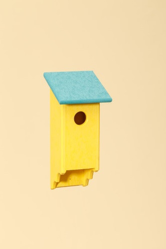 Poly Wood Bluebird House - Yellow Base/Teal Roof