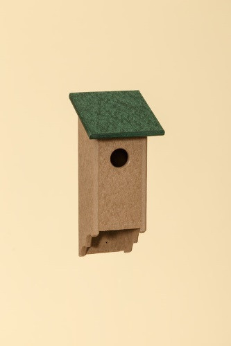 Poly Wood Bluebird House - Weatherwood Base/Green Roof