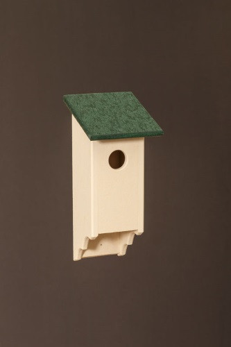 Poly Wood Bluebird House - Ivory Base/Green Roof