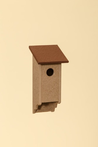 Poly Wood Bluebird House - Weatherwood Base/Cherry Roof