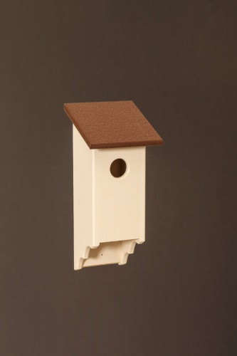 Poly Wood Bluebird House - Ivory Base/Cherry Roof