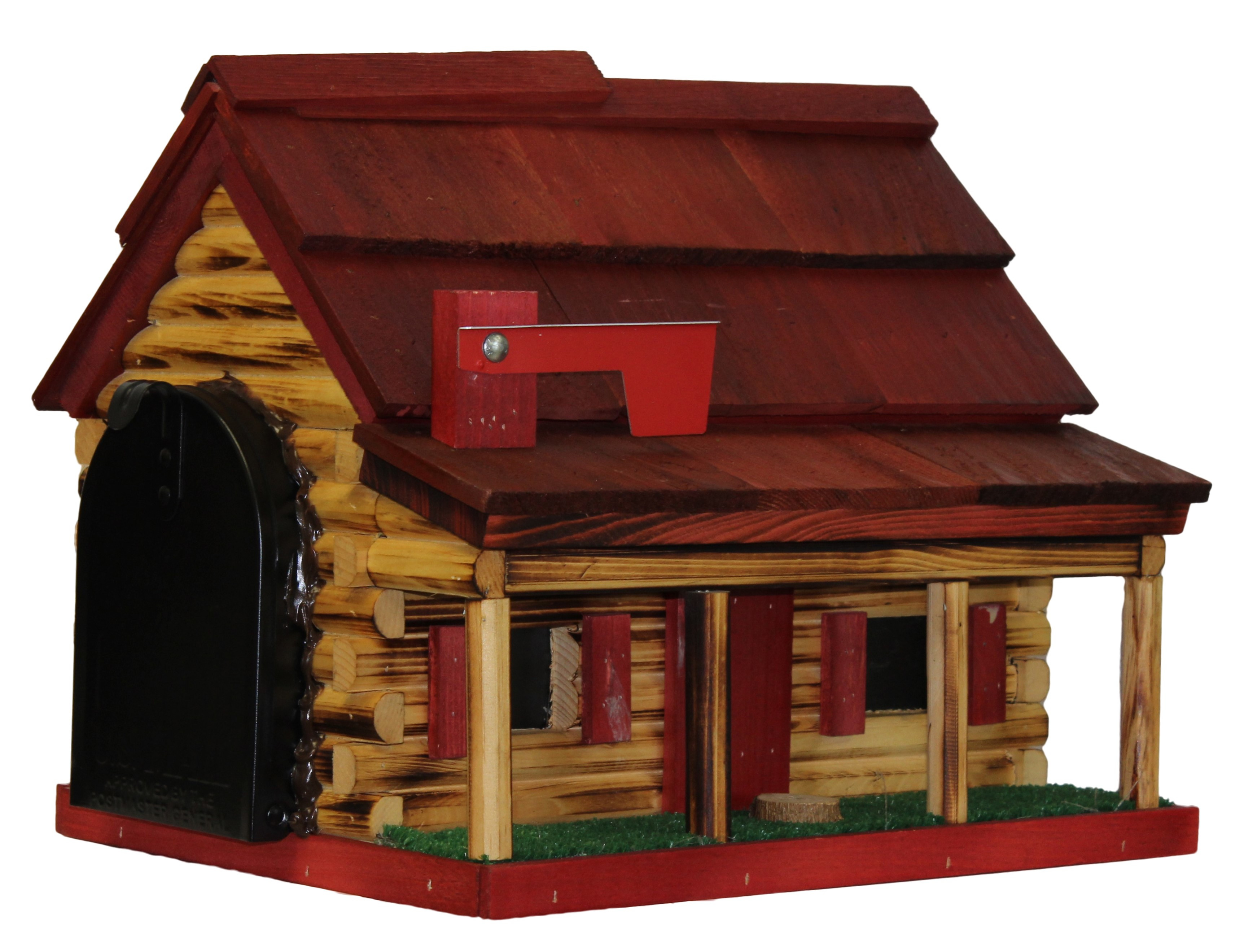 Log Cabin Mailbox - Red roof