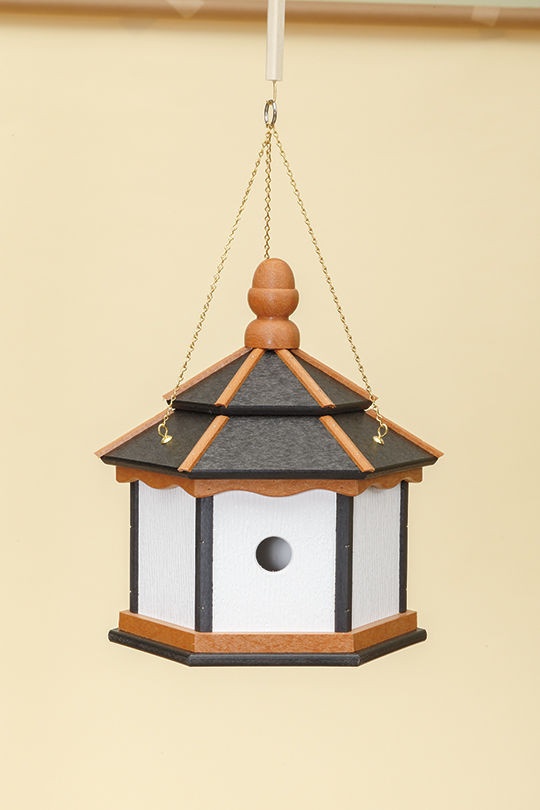 3 Hole Hexagon Polywood Birdhouse - Black/Cedar/White - Hanging