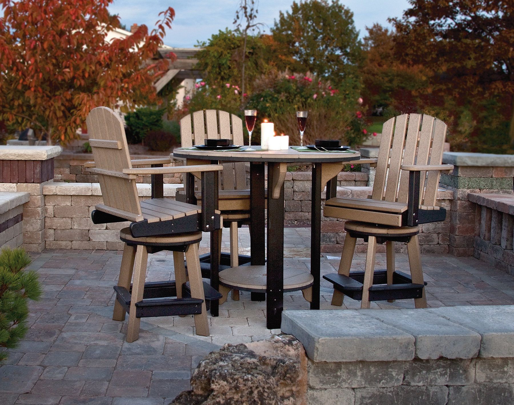 """42"""" Pub Table - Weatherwood & Black  (Other pieces in set sold separately)"""