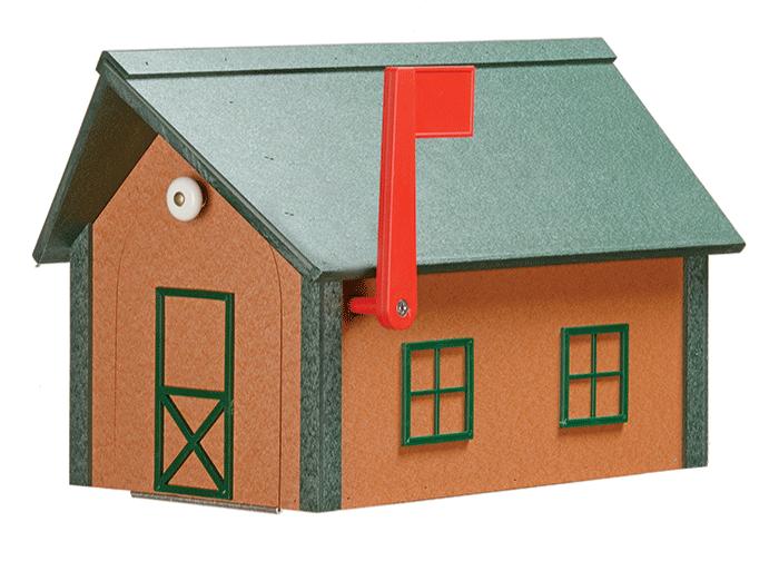 Deluxe Standard Poly Barn Mailbox - Cedar & Turf Green - Turf Green Roof