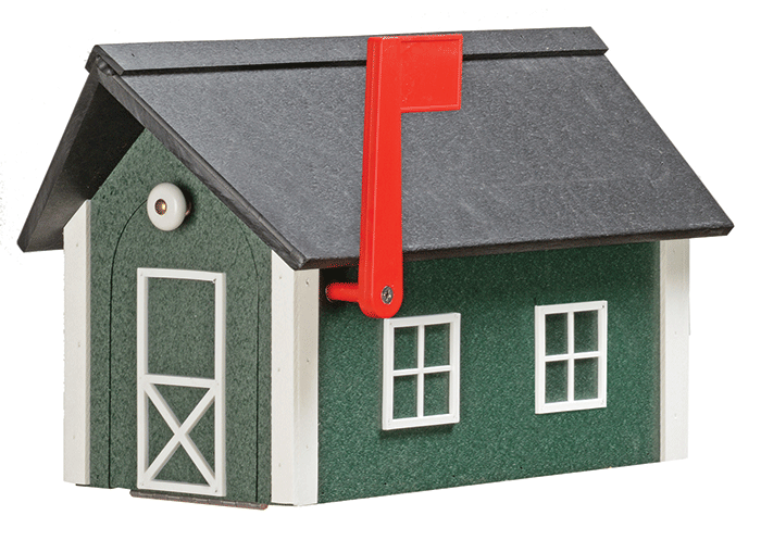 Deluxe Standard Poly Barn Mailbox - Turf Green & White - Black Roof