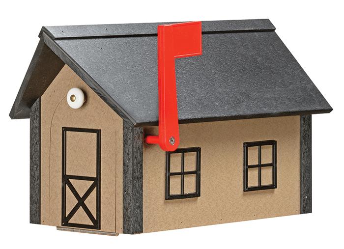 Deluxe Standard Poly Barn Mailbox - Weatherwood & Black - Black Roof