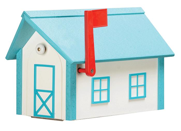 Deluxe Standard Poly Barn Mailbox - White & Aruba Blue - Aruba Blue Roof