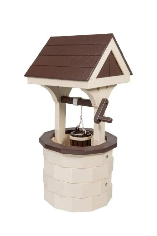 Small Poly Wood Wishing Well - Ivory & Brown