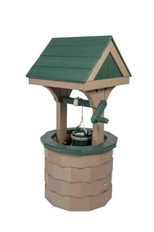 Small Poly Wood Wishing Well - Weatherwood & Turf Green