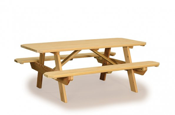 3' x 5' Table with Attached Benches - Pressure Treated Pine