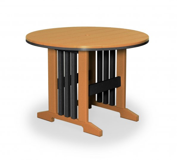 "Keystone 42"" Round Poly Dining Table - Cedar & Black"