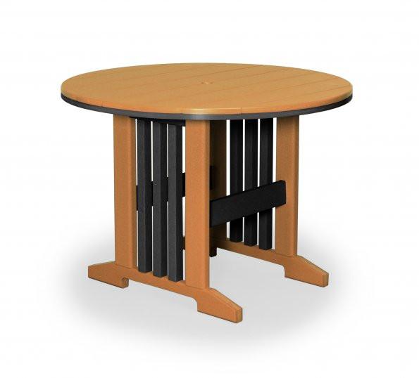 "Keystone 48"" Round Poly Dining Table - Cedar & Black"