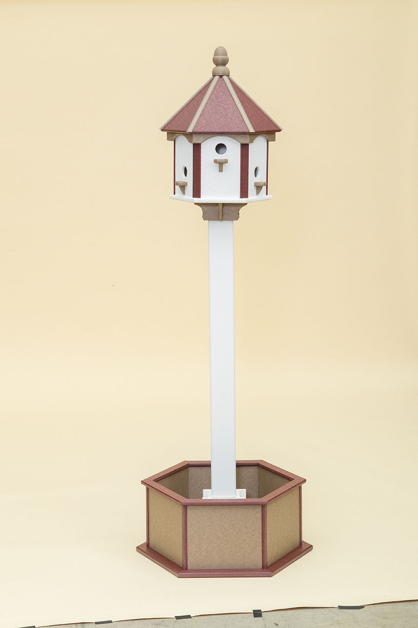 6 Hole Polywood Birdhouse - Shown with post & planter