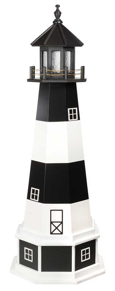 5' Amish Crafted Hybrid Garden Lighthouse - Bodie Island - Black & White