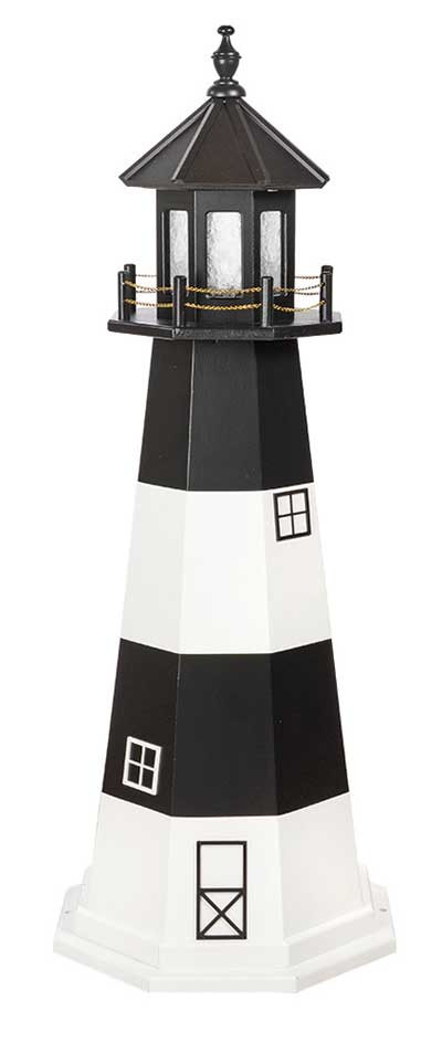 5' Amish Crafted Wood Garden Lighthouse - Fire Island - Black & White