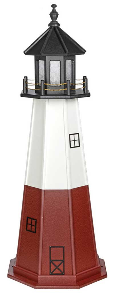 5' Vermillion Wooden Lighthouse