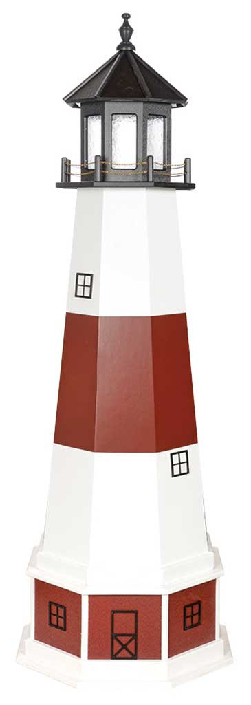 6' Amish Crafted Hybrid Garden Lighthouse - Montauk - Cherrywood & White