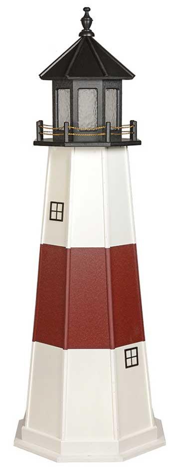 6' Amish Crafted Wood Garden Lighthouse - Montauk - White & Cherrywood