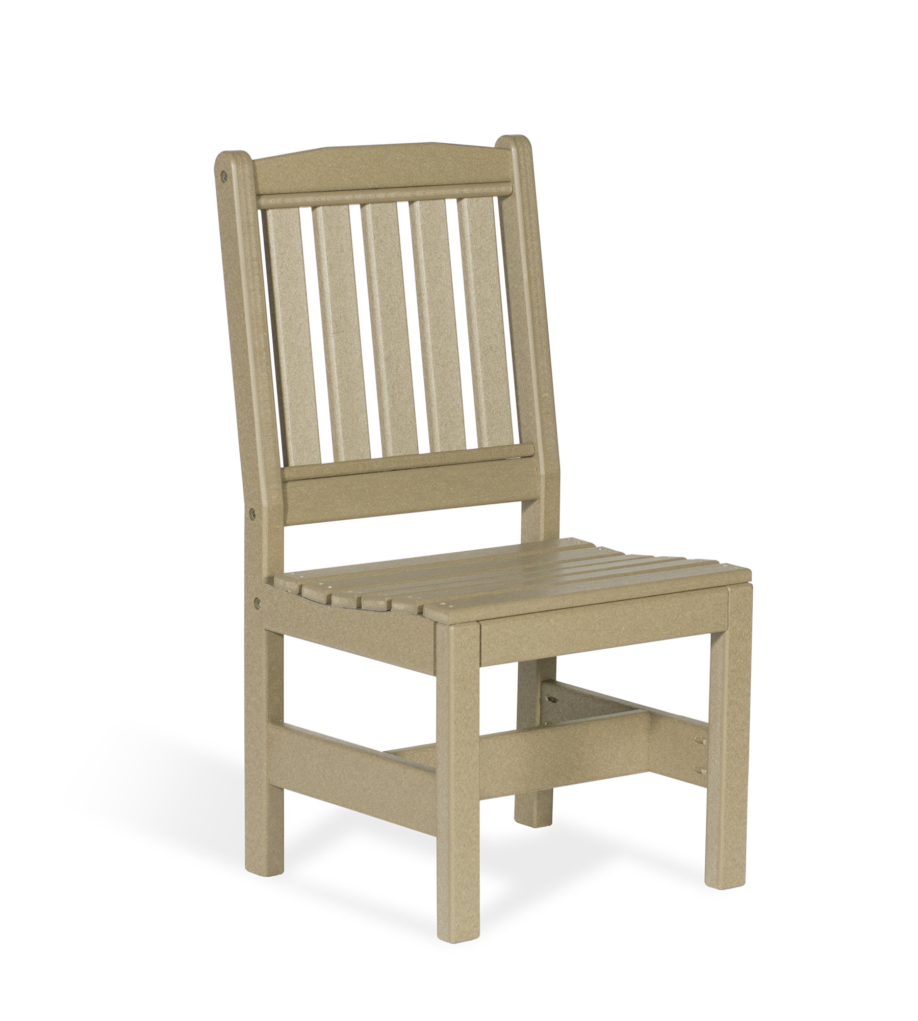 Poly English Garden Chair without Arms - Weatherwood
