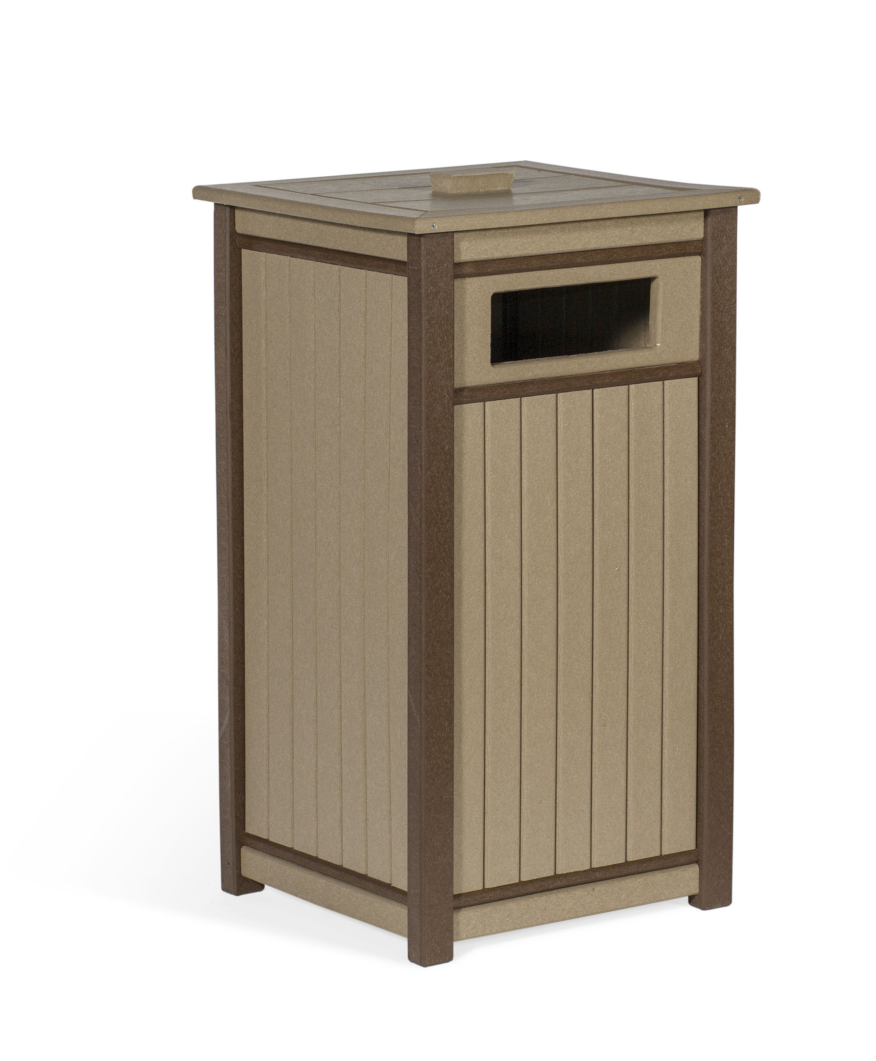 Poly Trash Receptacle - Weatherwood & Brown