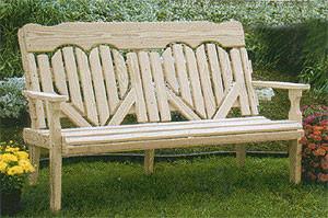 4' High Back Heart Bench