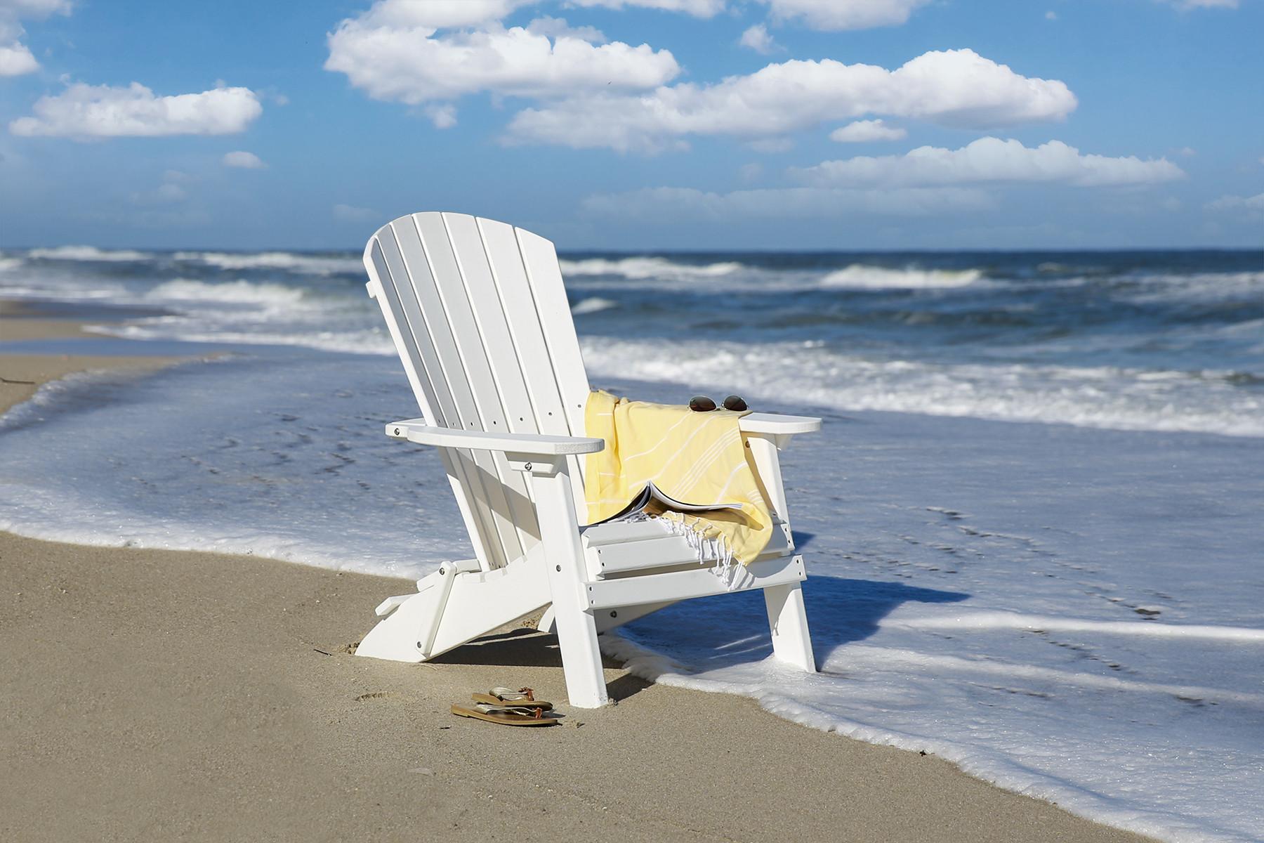 Folding Fan Back Polywood Adirondack Chair - White