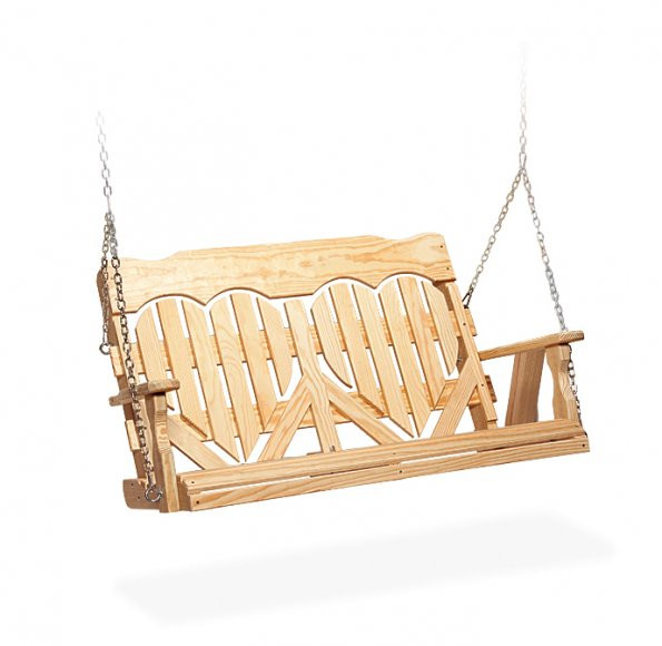 4' High Back Heart Porch Swing