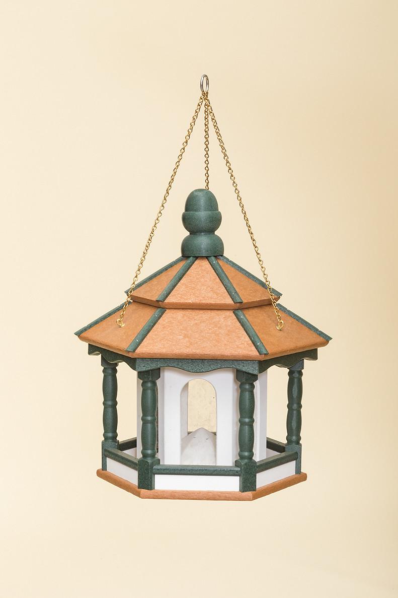 Small Hanging Hexagon Bird Feeder - Poly - Shown in Cedar, Turf Green & White