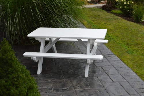 Kid's Yellow Pine Picnic Table with Attached Benches - Pine painted White