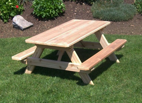 kid s cedar picnic table with attached benches pine ridge online rh pineridgeonline com cedar picnic table kit cedar picnic table kit