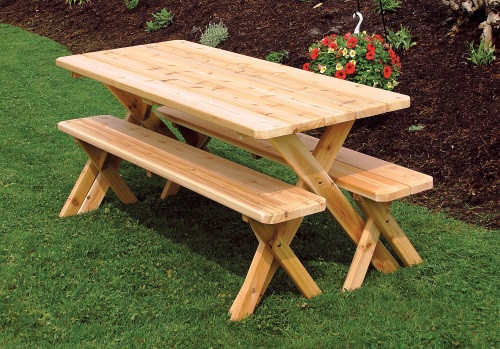 5' Cedar Crosslegged Picnic Table w/ 2 Benches - Unfinished