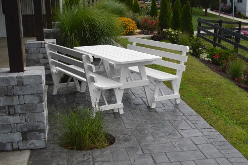 4' Traditional Yellow Pine Picnic Table w/ 2 Backed Benches  - White