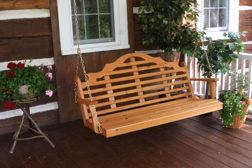 5' Marlboro Cedar Porch Swing - Cedar Stain