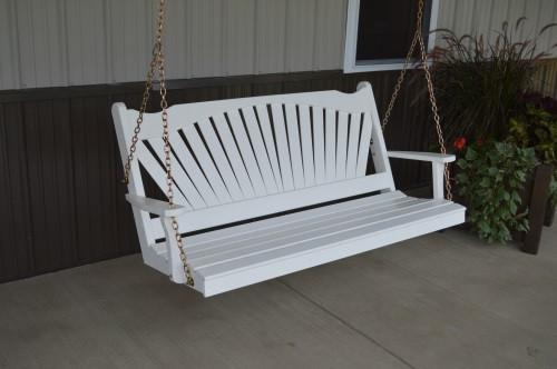 4' Fanback Yellow Pine Porch Swing - White
