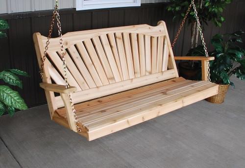 4' Fanback Cedar Porch Swing - Unfinished