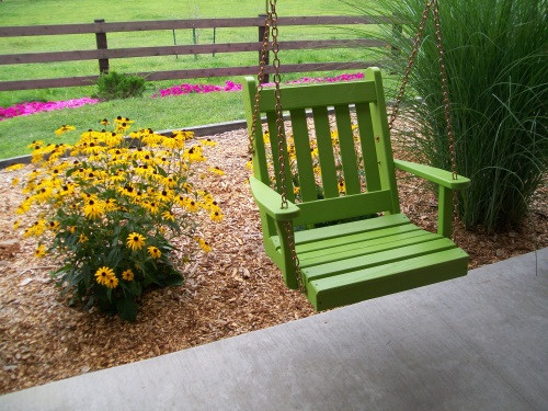 2' Traditional English Yellow Pine Chair Swing - Shown in Lime Green