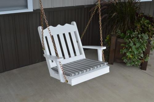 2' Royal English Garden Yellow Pine Chair Swing - White w/ Cushion