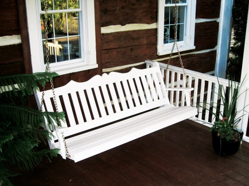 6' Royal English Garden Yellow Pine Porch Swing - White